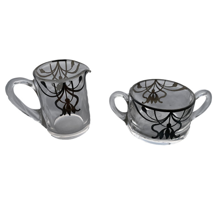 Glass Creamer and Sugar Bowl Set