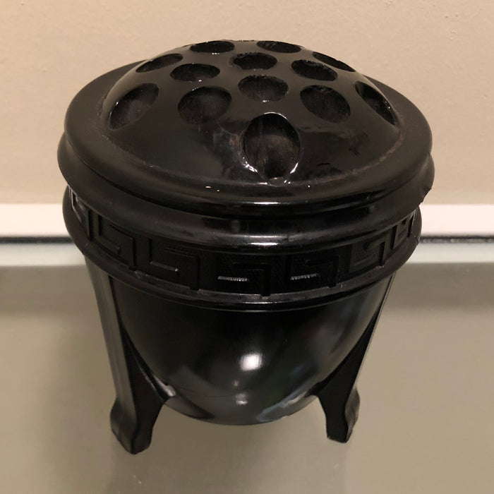 Black Glass Greek Key Urn-Shaped Vase w/ Frog Lid