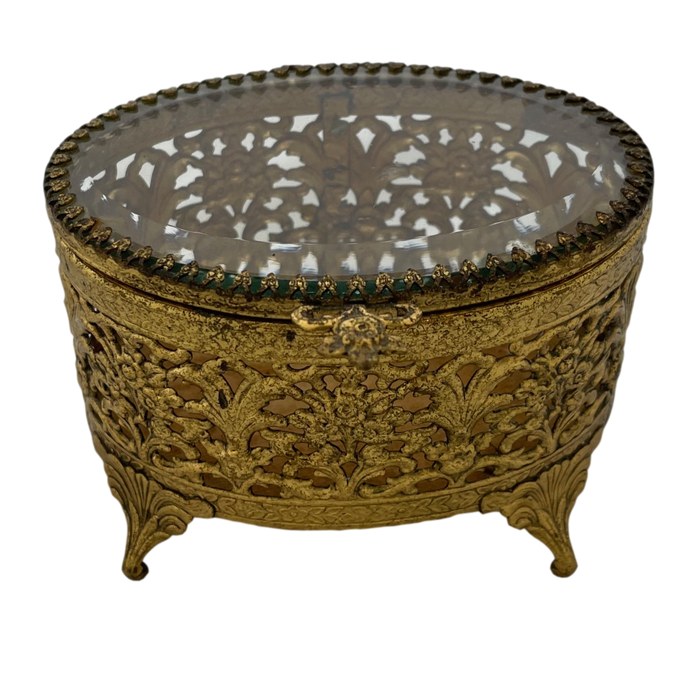 Vintage Footed Gold Tone Jewelry Box