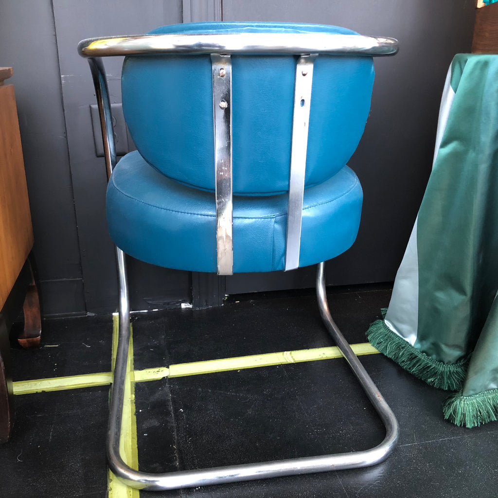 Pair of Vintage Thonet-Style Cromed Metal Chairs