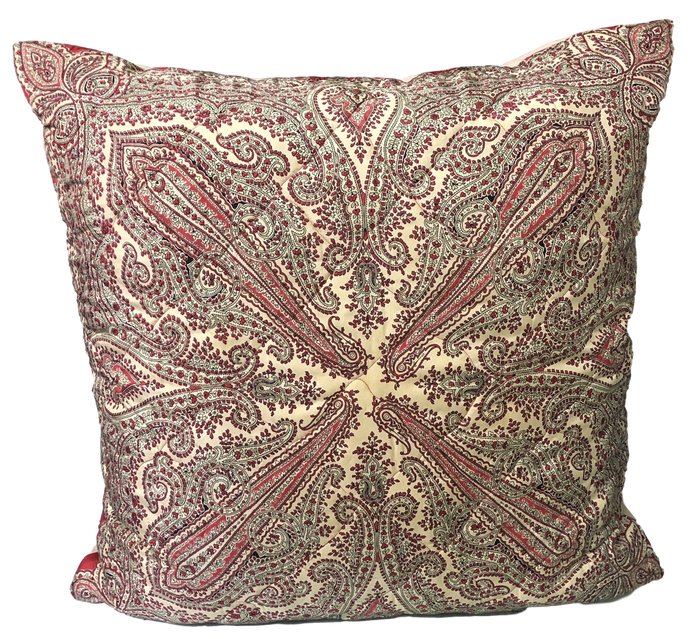 Vintage Pink & Red Paisley Silk Twill Scarf Throw Pillow w/ Feather Insert