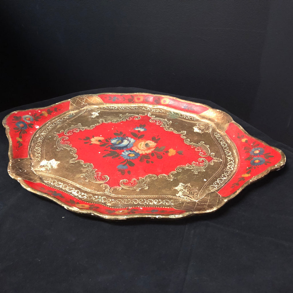 Hand-Painted Vintage Italian Gilded Tray