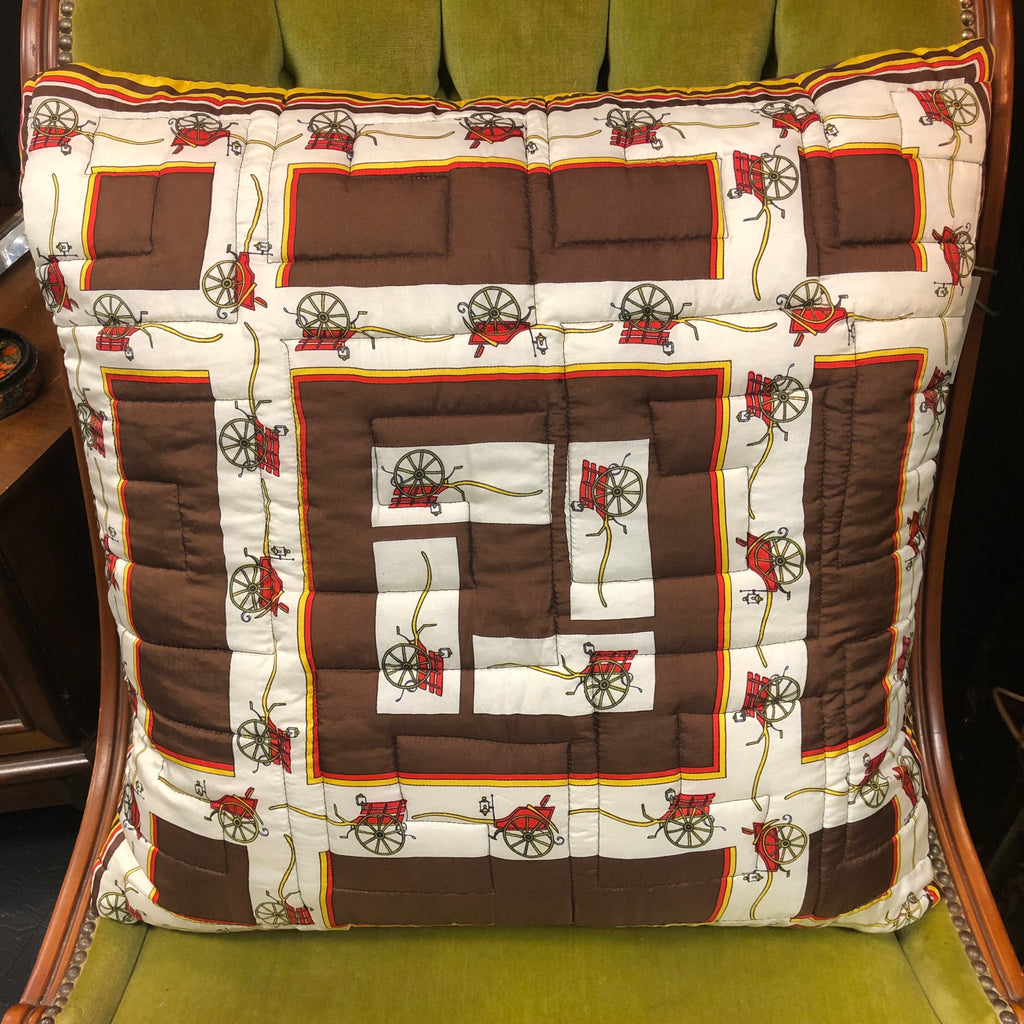 Vintage Brown & Yellow Equestrian Motif Silk Twill Scarf Throw Pillow w/ Feather Insert