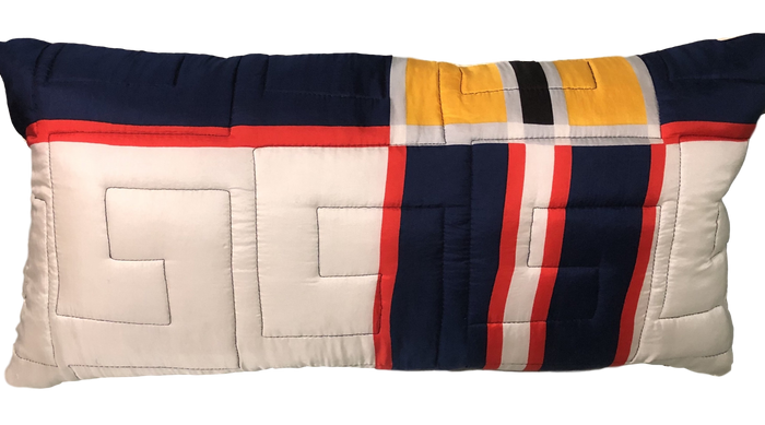 Vintage Blue, Red & Yellow Silk Twill Scarf Pillow w/ Feather Insert