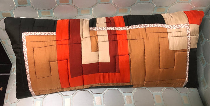Vintage Tan, Rust & Brown Silk Twill Scarf Pillow w/ Feather Insert