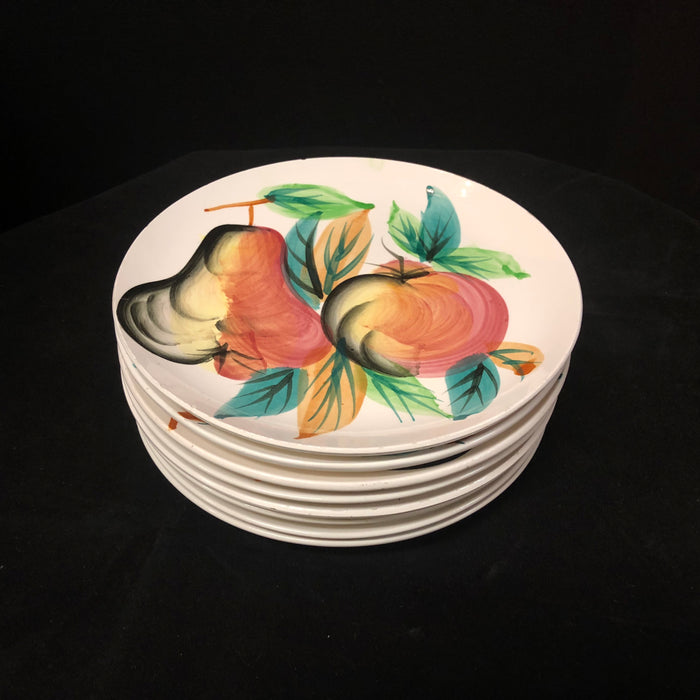 Set of 8 Vintage Hand-Painted Fruit & Leaves Salad/Dessert Plates