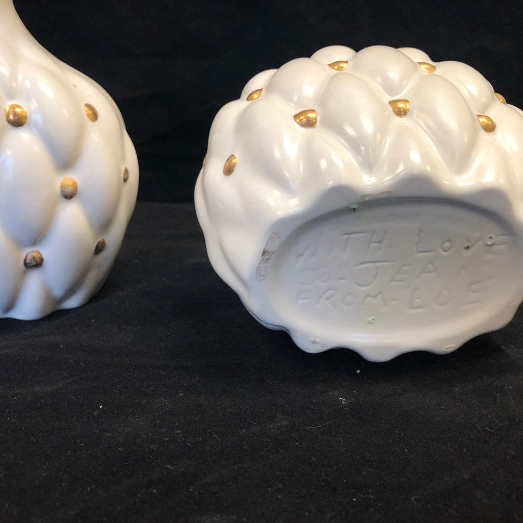 Pair of Vintage 1940's Hand-Painted White & Gold Pillowed Decanters