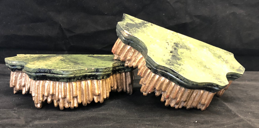 Pair of Vintage Highly Unusual Chinoiserie Moss Plaster Brackets