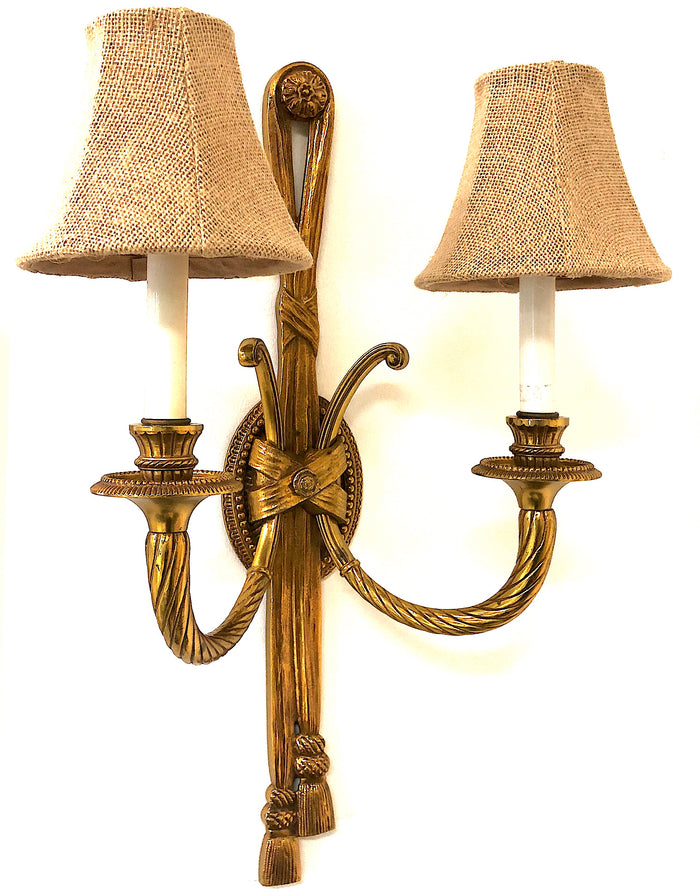 Pair of Brass Rope & Tassel Sconces