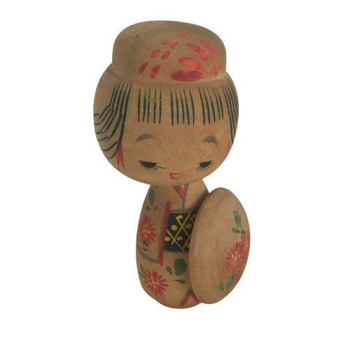Wooden Japanese Hand-Painted Doll