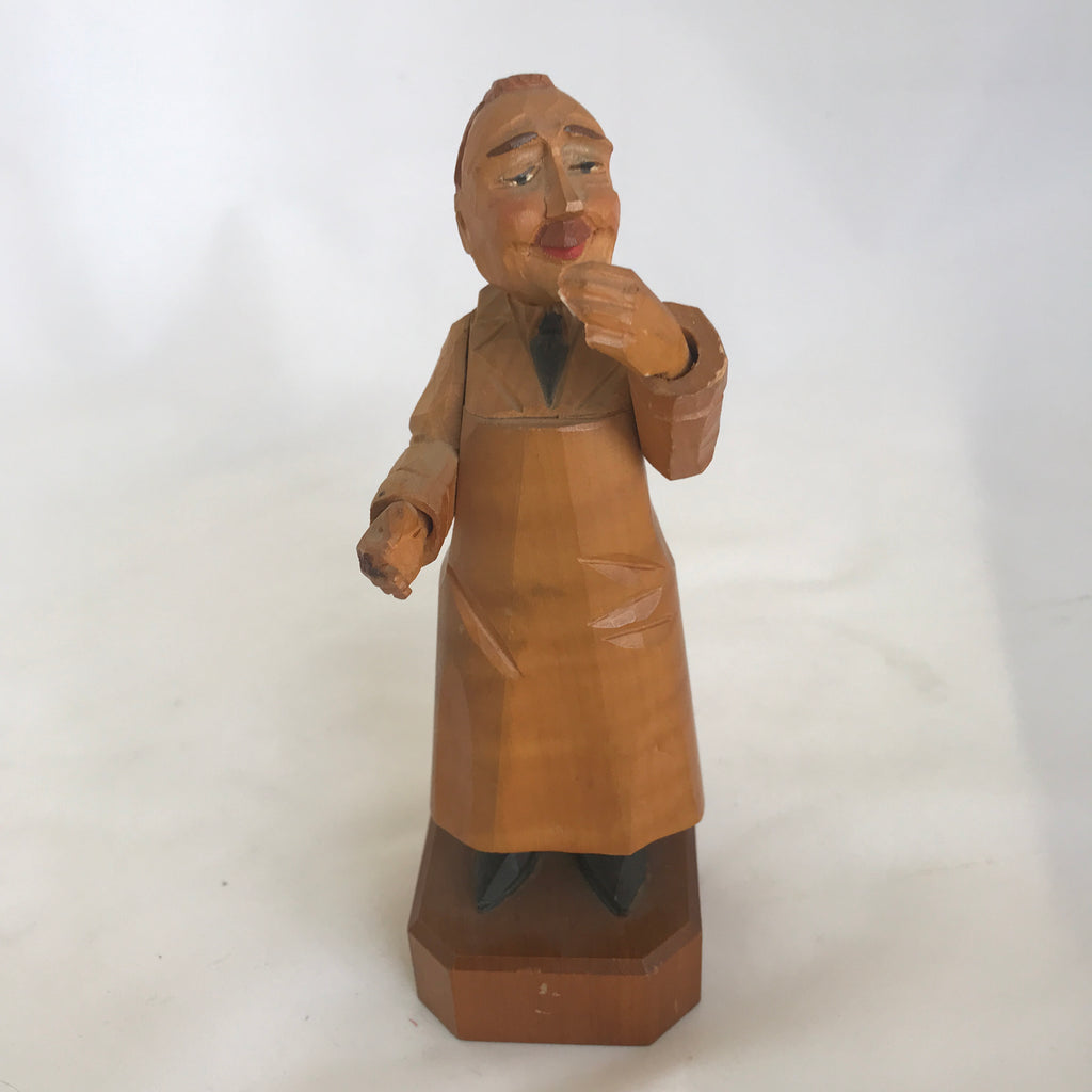Hand-Carved Wooden Store Clerk