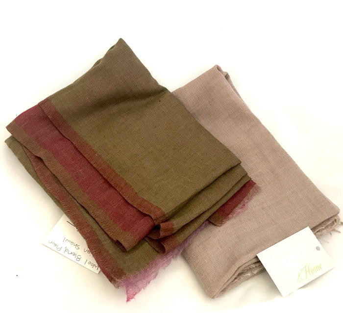 Wool Blend Plain Shawl from India