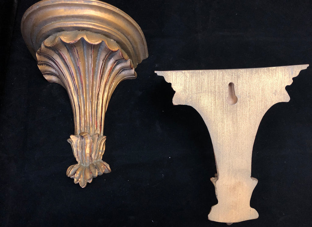 Pair of Vintage Carved and Painted Wood Brackets