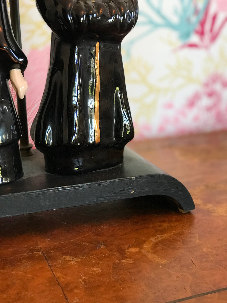 Black Oriental Figurine Lamp