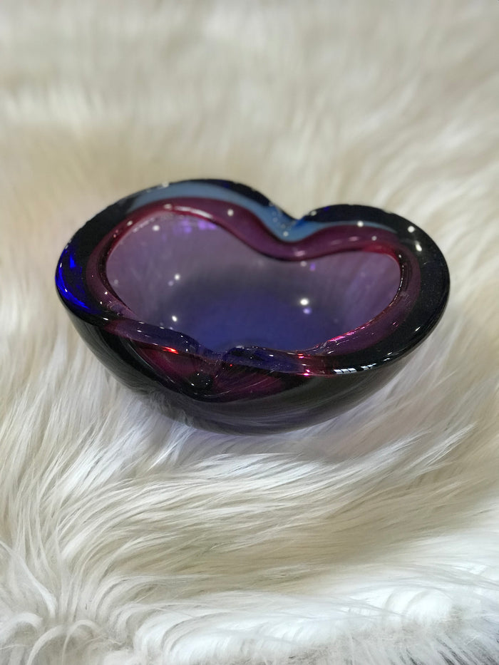 Purple and Cobalt Murano Glass Bowl
