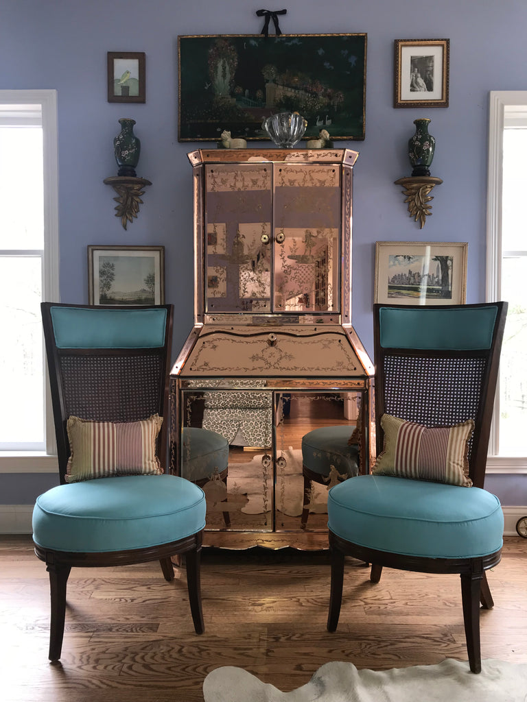 Pair of Cane-Back, Turquoise Sateen Chairs