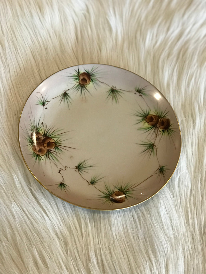Decorative Plate with Painted Pinecones