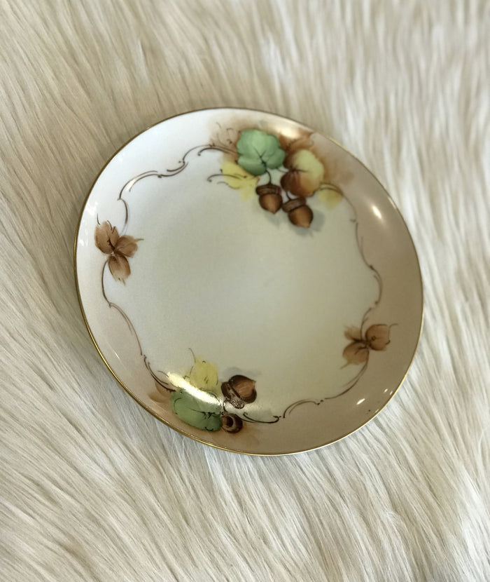 Decorative Plate with Painted Acorns