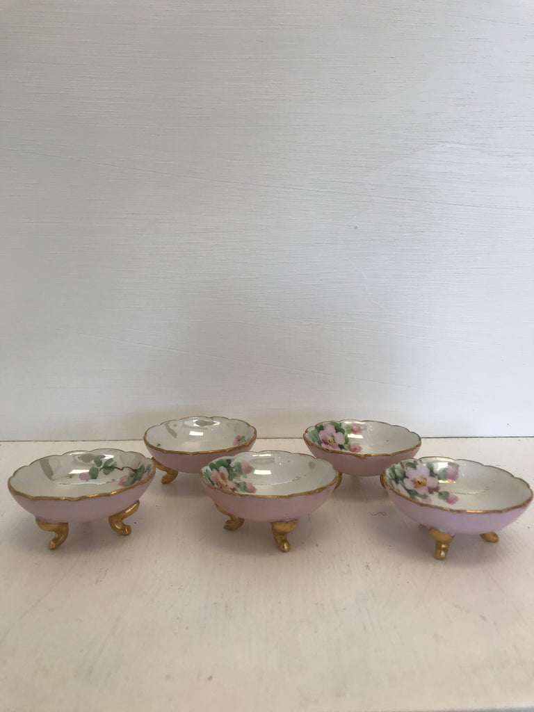 Perfectly Pastel Hand Painted Vintage Limoges Footed Salt Cellars (set of 5)