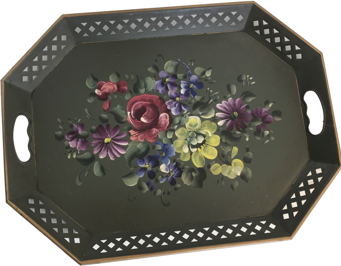 Olive Green Vintage Nashco Hand Painted Tole Serving Tray