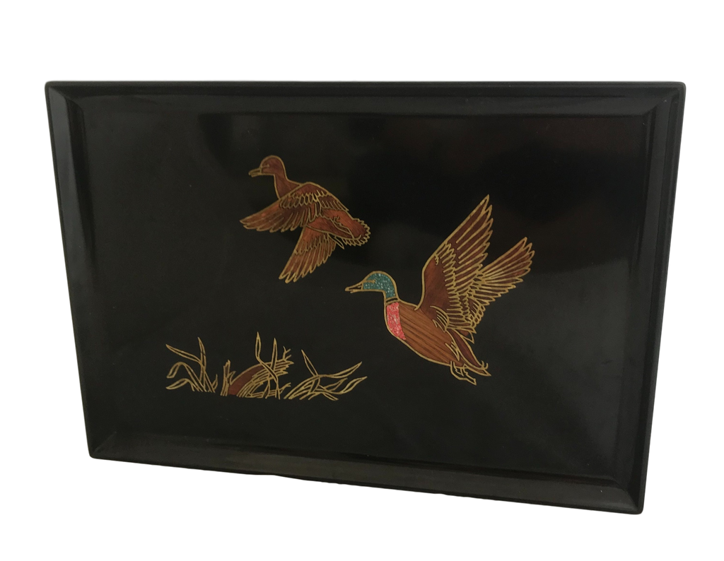 Vintage 1960's Couroc Tray with Inlay Ducks