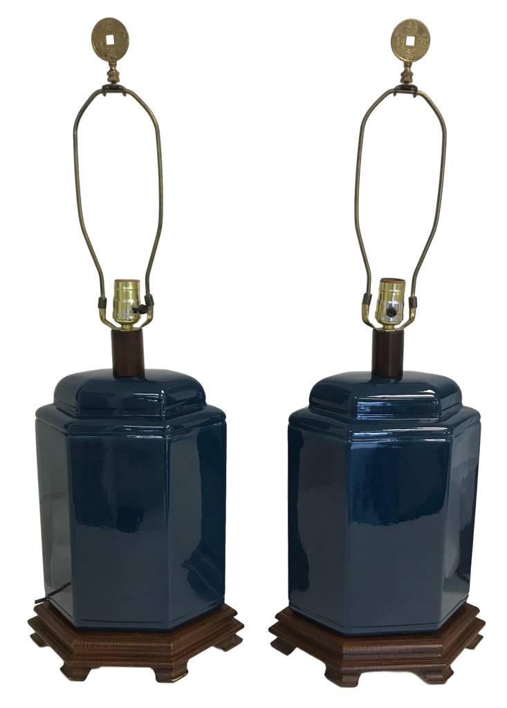 Pair of Oriental Style Ceramic Lamps