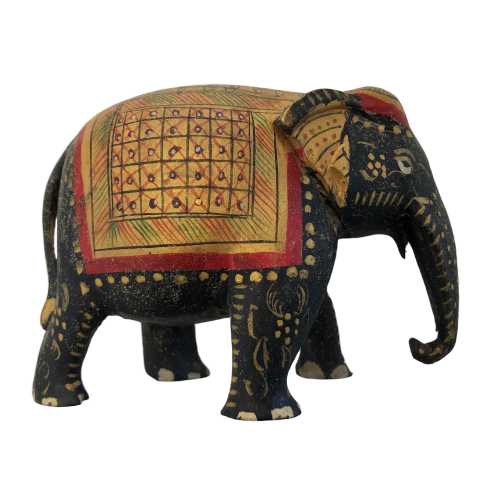 "Vintage Hand-painted Wooden Indian ""Goldie"" Good-luck Elephant"