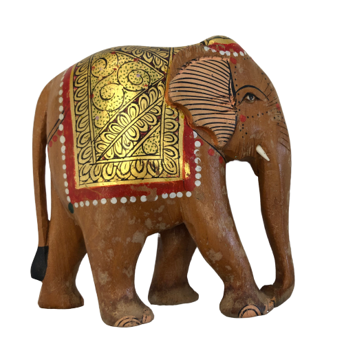 """Jumbo"" Hand-painted Wooden Indian Good-luck Elephant Vintage"