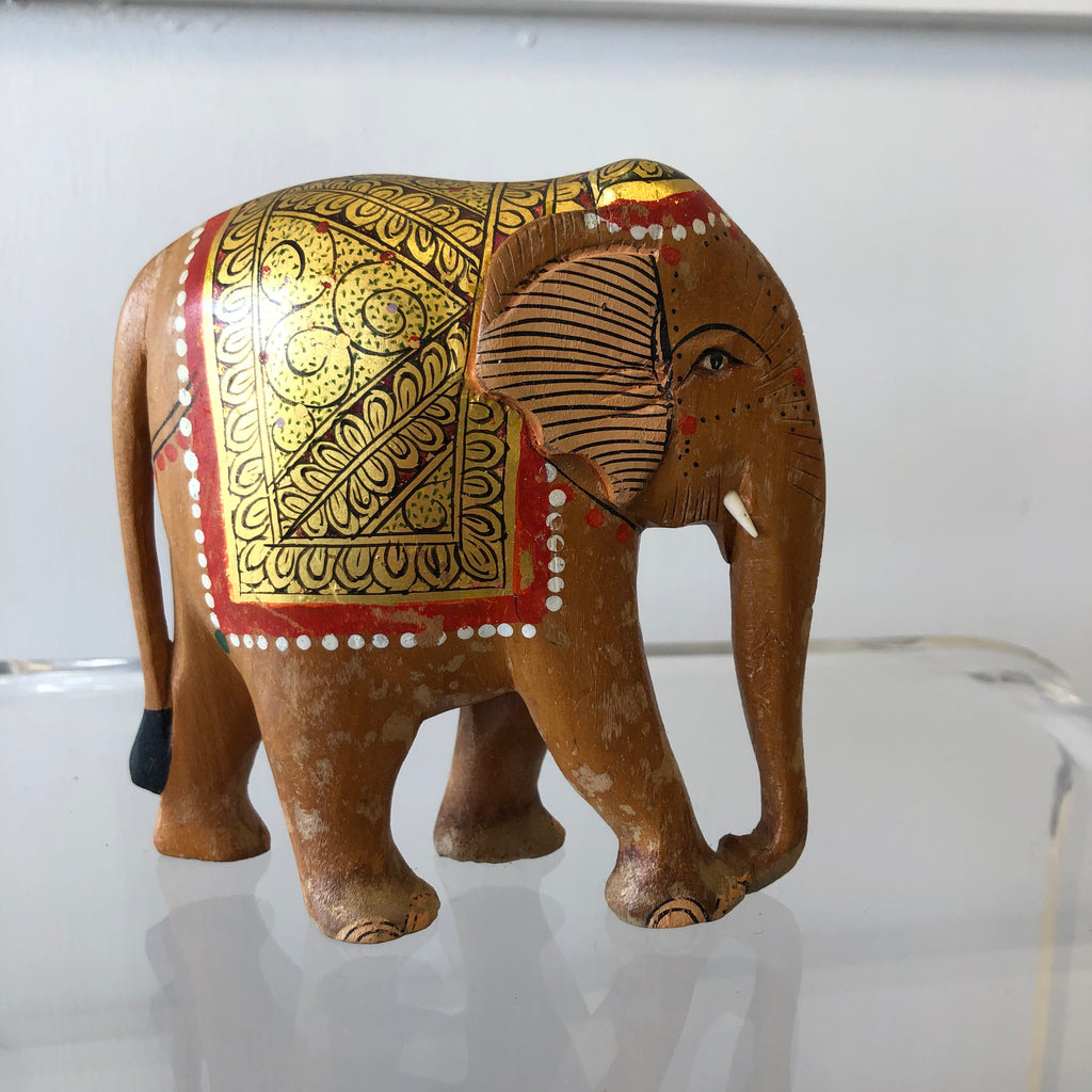 "Vintage Hand-painted Wooden Indian ""Jumbo"" Good-luck Elephant"