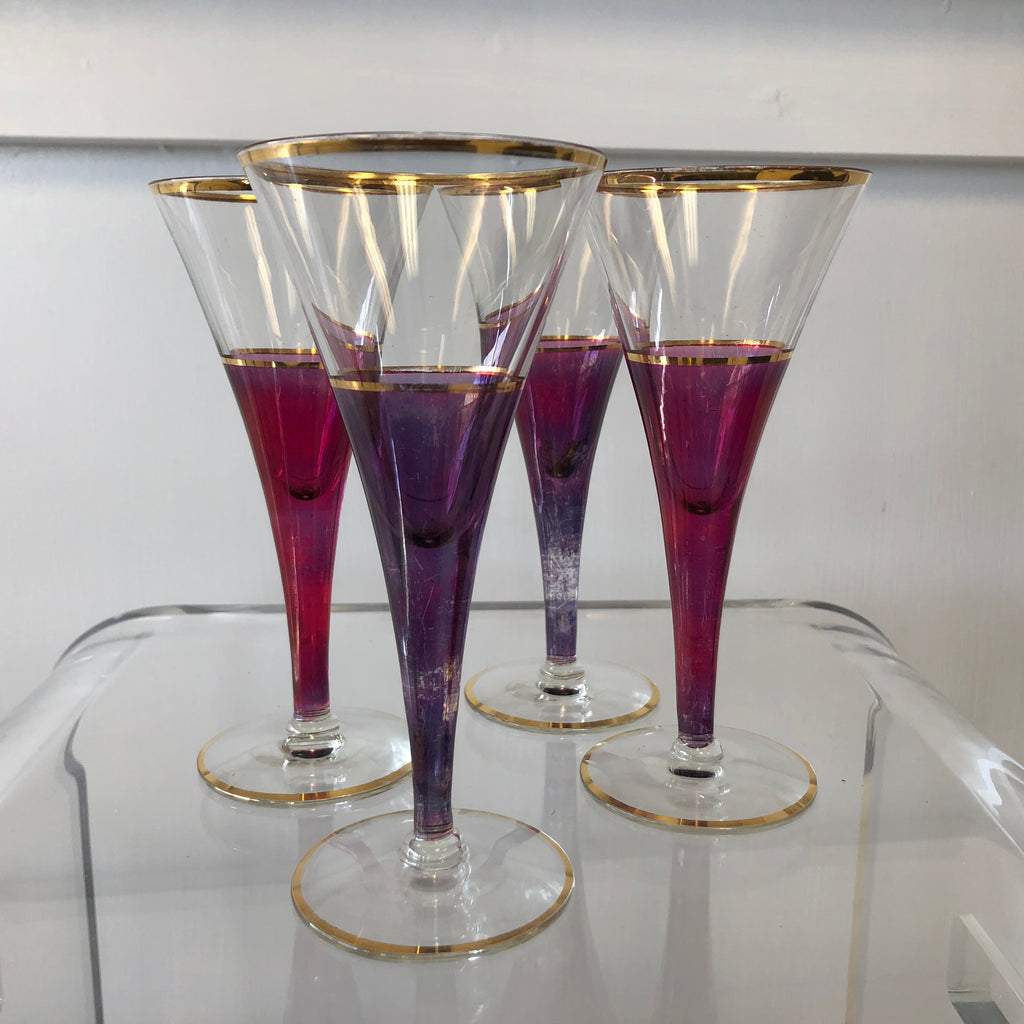 Set of 4 Trumpet Champagne Flute Glasses Hand-Blown