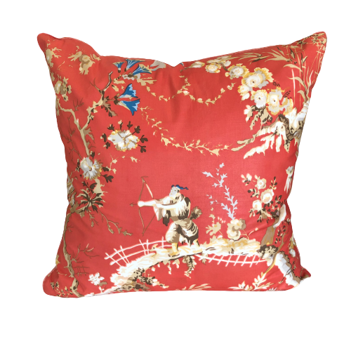 Brunschwig & Fils Coral Toile Throw Pillow w/ Feather Insert
