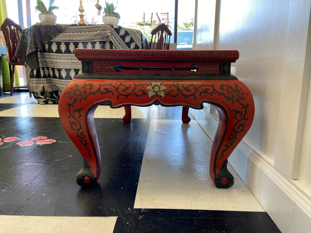 Red Lacquer & Hand Painted Oriental Cocktail Table