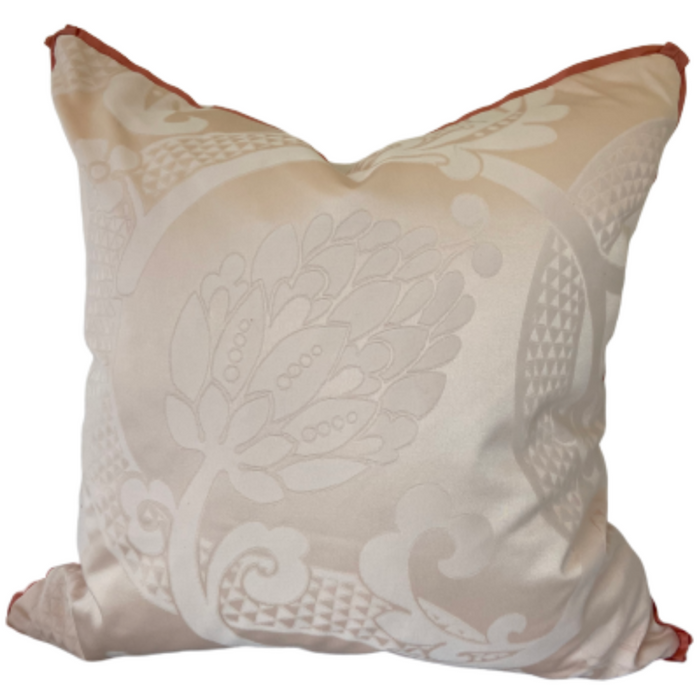Pink Damask Silk Pillow with Coral Trim
