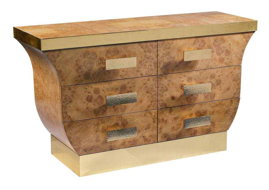 The gorgeous Mint Julep Chest features brass hardware and detail. This piece from The Facet Collection was designed by Michelle Workman for French Heritage and is perfect for anyone looking to achieve that luxurious, high-end look in their home. The light burl finish is shown here.