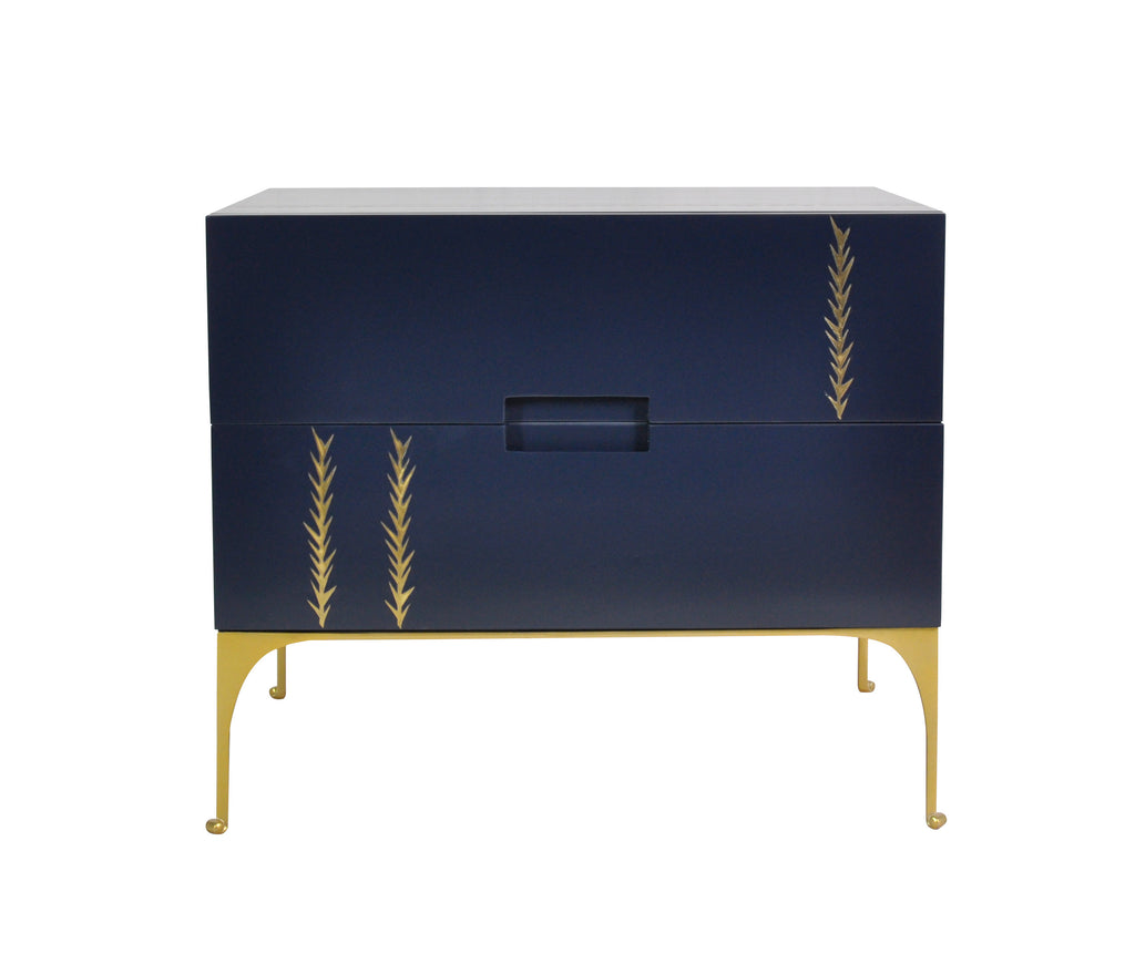 The Martini Nightstand with brass palm frond inlay, comes in 3 of our signature colors: Vanilla, Midnight Blue and Coal Mine. A timeless but unique piece designed by Michelle Workman for French Heritage. Perfect for anyone looking to achieve that luxurious, high-end look in their home. Shown here in the Midnight finish.