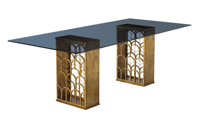 This gorgeous, Art Deco-inspired table base is gold leaf and shown here with a cool blue rectangular glass top. This piece from The Facet Collection was designed by Michelle Workman for French Heritage and is perfect for anyone looking to achieve that luxurious, high-end look in their home.