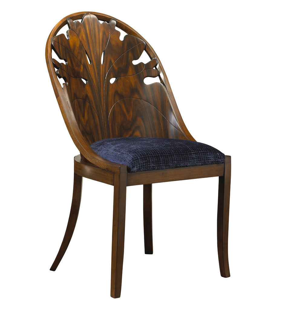 The Pink Lady Side Chair is sure to add flare to your dining room set-up! This piece from The Facet Collection was designed by Michelle Workman for French Heritage and is perfect for anyone looking to achieve that luxurious, high-end look in their home. Shown here in the Rosewood finish with Navy fabric.