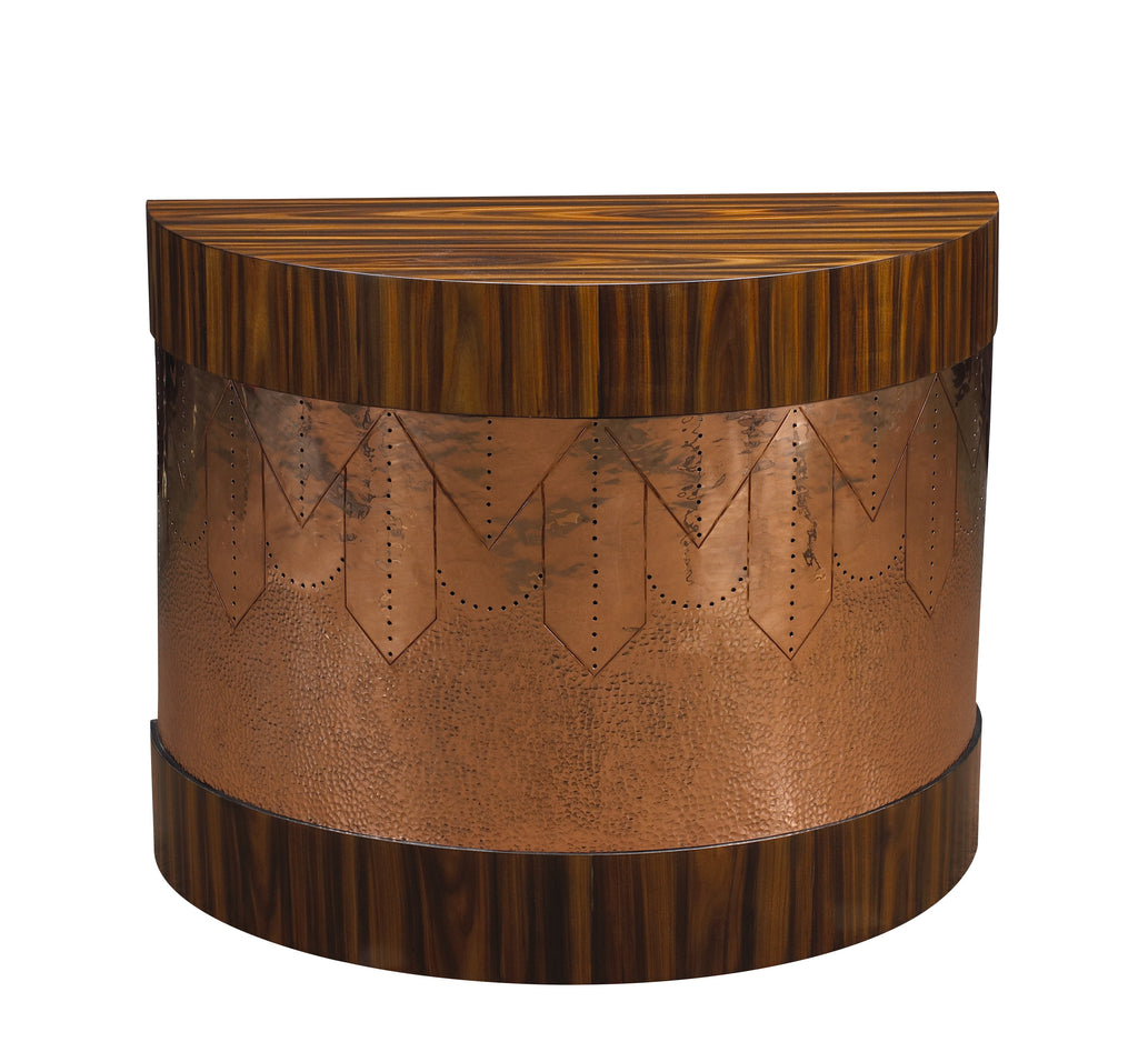As seen on the cover of Lighting & Decor magazine's July 2017 issue, this crescent shaped side table is available in a light burl and brass, a medium burl and brass, or a rosewood and ebony with copper finish. This piece from The Facet Collection was designed by Michelle Workman for French Heritage and is perfect for anyone looking to achieve that luxurious, high-end look in their home. Shown here in the Rosewood and copper finish.
