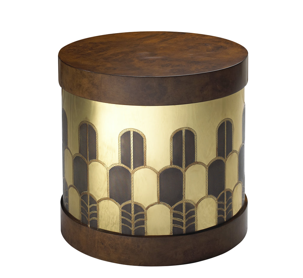 The Gibson Side Table has a hatbox-inspired form and is beautifully hand-etched in Deco design on brass or copper. The top and base are finished in burl, rosewood or lacquer. This piece from The Facet Collection was designed by Michelle Workman for French Heritage and is perfect for anyone looking to achieve that luxurious, high-end look in their home. Shown here in the Rosewood and brass finish.