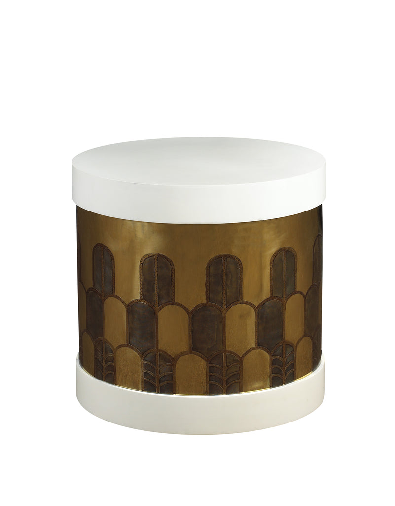 The Gibson Side Table has a hatbox-inspired form and is beautifully hand-etched in Deco design on brass or copper. The top and base are finished in burl, rosewood or lacquer. This piece from The Facet Collection was designed by Michelle Workman for French Heritage and is perfect for anyone looking to achieve that luxurious, high-end look in their home. Shown here in the matte Vanilla and brass finish.