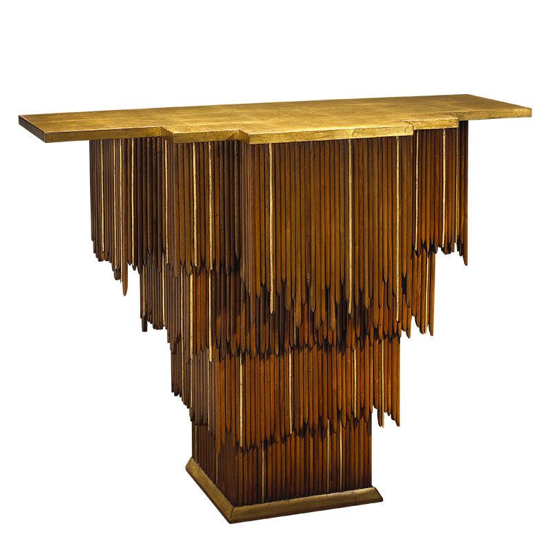 The Mai Tai Entry Table features a cascading form of mahogany and gold trim, as well as a gold leaf top and base. This piece from The Facet Collection was designed by Michelle Workman for French Heritage and is perfect for anyone looking to achieve that luxurious, high-end look in their home. The extended top option is shown here.