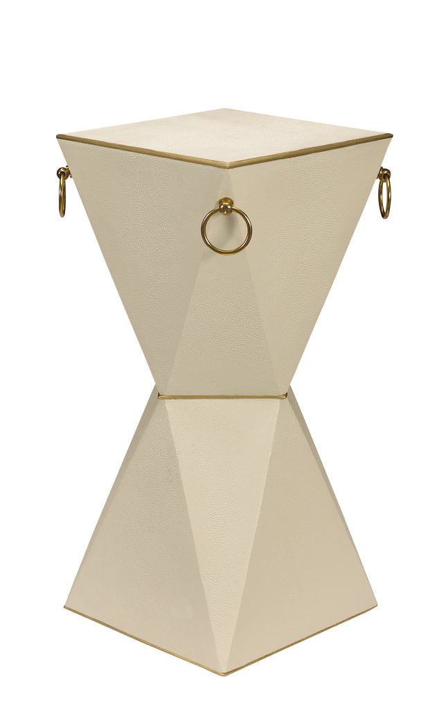 "Featured in Home Design & Decor's ""Best of Guide 2017"", the Mimosa End Table is perfect to hold your special cocktail. This piece is a versatile, Art Deco-inspired accent table that is available in 7 of our signature colors! This piece from The Facet Collection was designed by Michelle Workman for French Heritage and is perfect for anyone looking to achieve that luxurious, high-end look in their home. Shown here in the Vanilla finish."