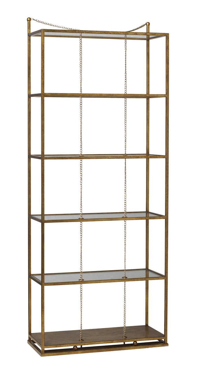 Perfect for your special treasures and books, The Singapore Sling Etagere with sleek lines, glass shelves, and unexpected chain detail is so unique! Designed by Michelle Workman for French Heritage, this piece from The Facet Collection is perfect for anyone looking to achieve that luxurious, high-end look in their home. Shown here in the gold leaf finish.
