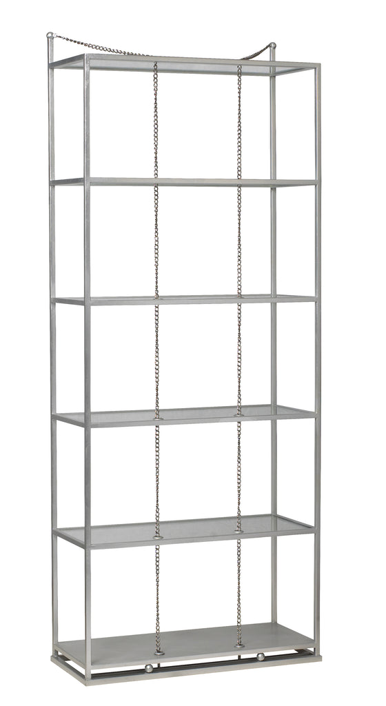 Perfect for your special treasures and books, The Singapore Sling Etagere with sleek lines, glass shelves, and unexpected chain detail is so unique! Designed by Michelle Workman for French Heritage, this piece from The Facet Collection is perfect for anyone looking to achieve that luxurious, high-end look in their home. Shown here in the silver leaf finish.