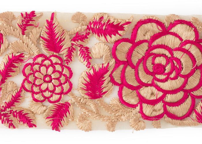 "This bright and beautiful pink floral trim is 2.5"" wide and is sold by the yard for use on curtains, upholstery and home accessories. Perfect for anyone looking to achieve that luxurious, high-end look in their home."