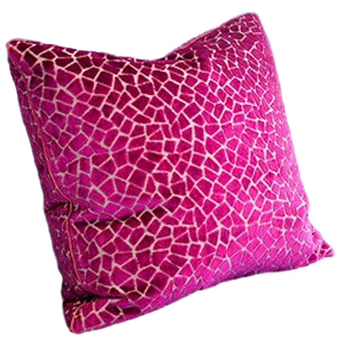 Large Fuchsia Velvet Pillow w/ Feather Insert
