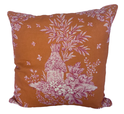 Orange and Pink Toile Pillow Cover