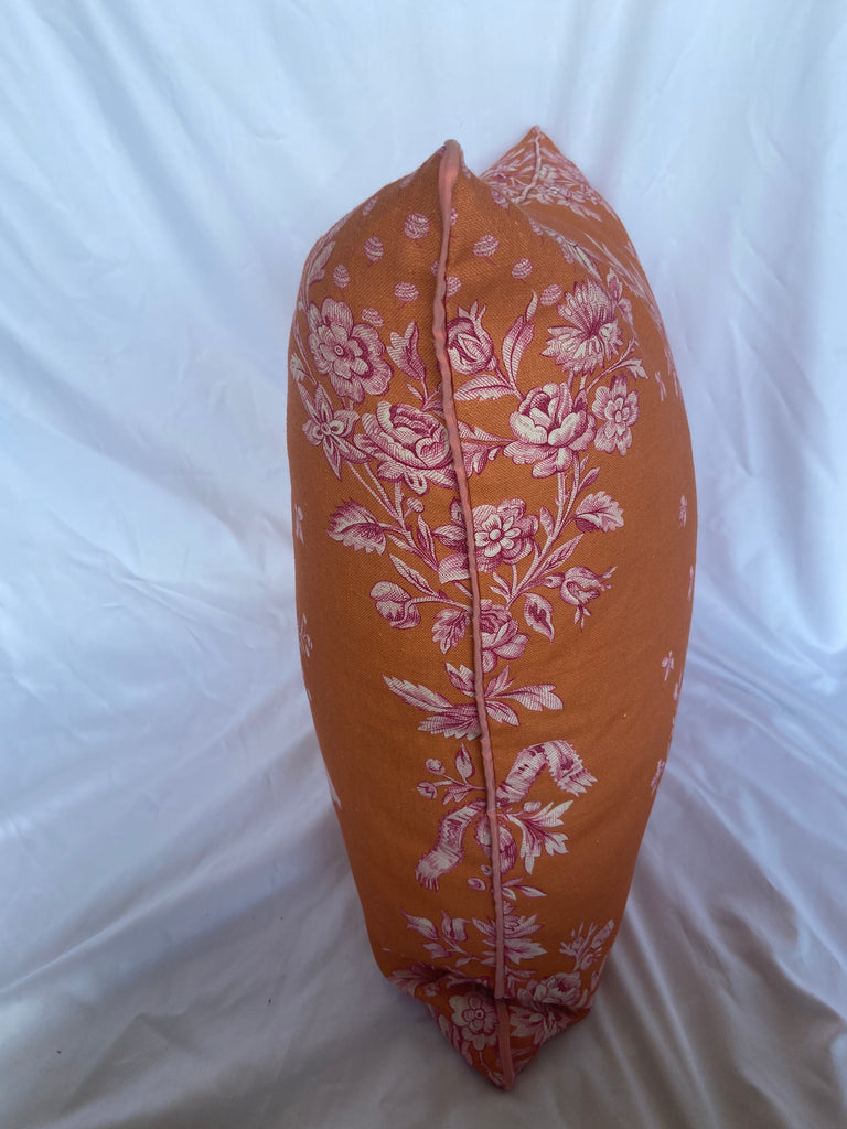 Orange and Pink Toile Pillow w/ Feather Insert