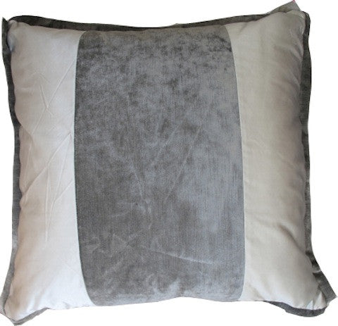 Gray Satin and Velvet Pillow