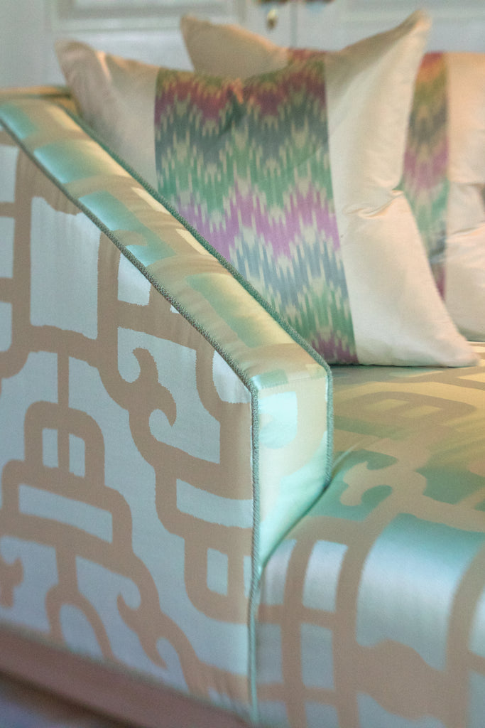 As seen in the 2016 Junior League of Chattanooga Showhouse, this gorgeous Wesley Hall Social Sofa from the Peter Jacob Collection was designed and produced for this event. The sofa is covered in a very light green/blue over-scaled oriental print silk by Robert Allen